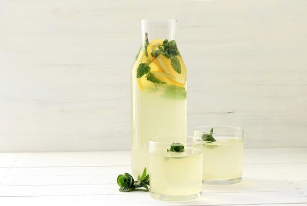 Homemade lemonade in bottle, Premium Photo
