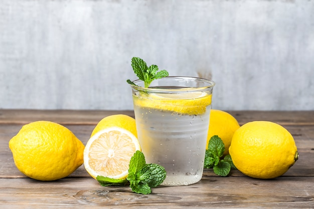 Homemade lemonade with fresh lemon and mint Free Photo