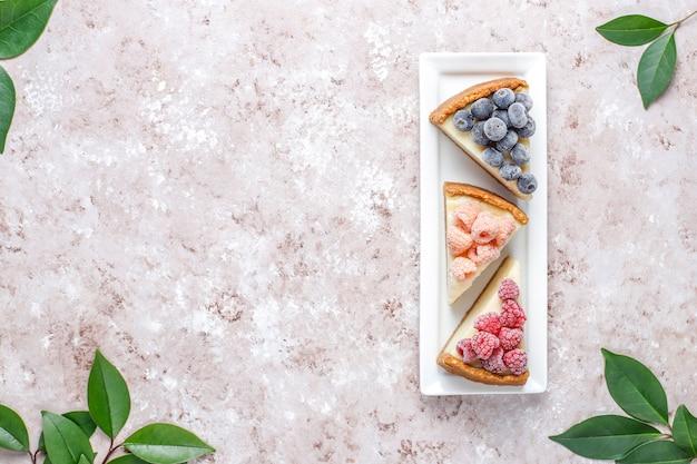 Домашний нью-йоркский чизкейк с замороженными ягодами и мятой, полезный органический десерт, вид сверху Бесплатные Фотографии