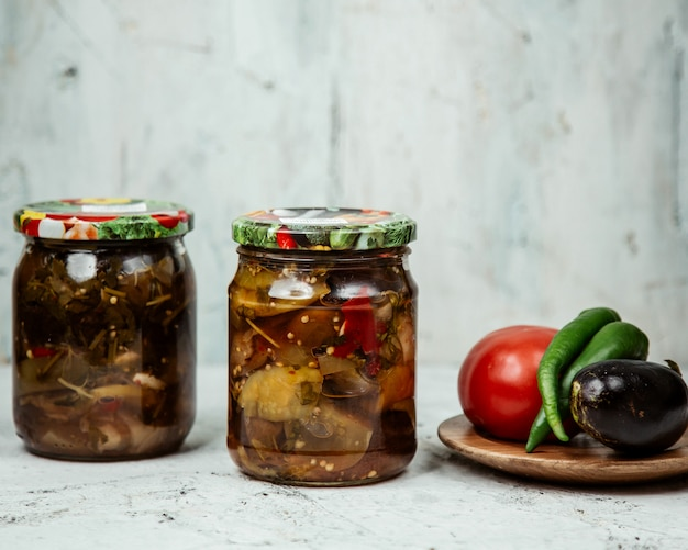 Homemade pickles in a jar Free Photo