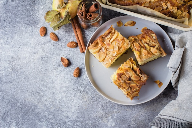 Homemade pies with apples, almond flakes. norwegian biscuit pie on stone concrete table background Premium Photo