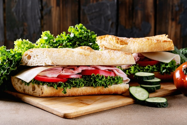 Homemade sandwich Premium Photo