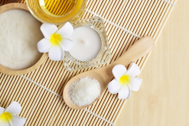 Homemade spa set which consists of body and facial scrub Premium Photo