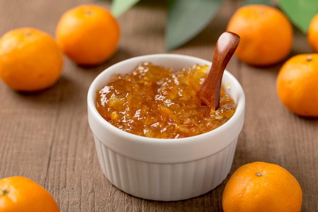 Homemade tangerine fruit butter high view Free Photo