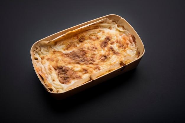 Homemade traditional italian meat lasagna Free Photo
