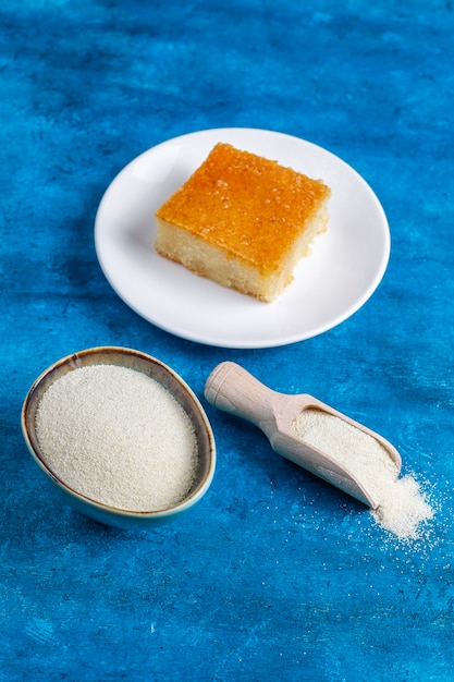 Homemade turkish dessert semolina cake. Free Photo