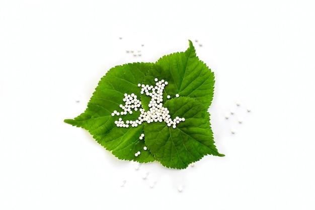 白い背景の上の緑の植物の葉のホメオパシー小球(錠剤) Premium写真