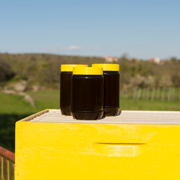 Honey jar with yellow cover Free Photo