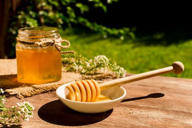 Honey spoon on bowl Free Photo