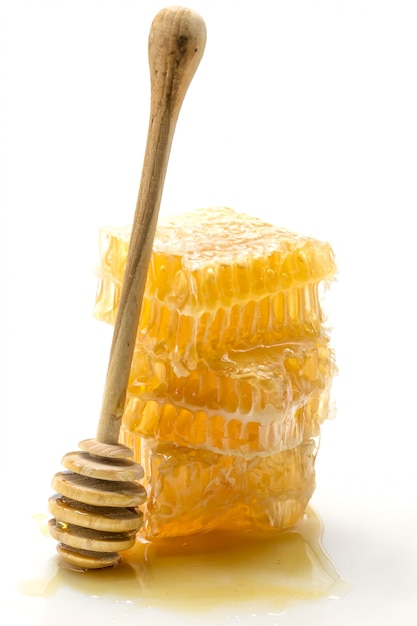 Honeycomb on white background Premium Photo