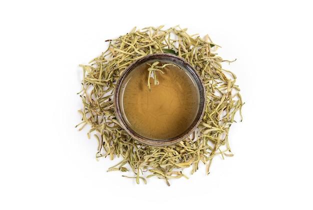 白い表面に分離されたスイカズラの花とお茶。上面図、フラットレイ Premium写真