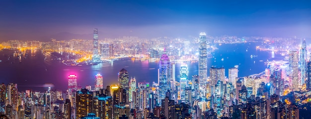 Hong kong city skyline and architectural landscape Premium Photo