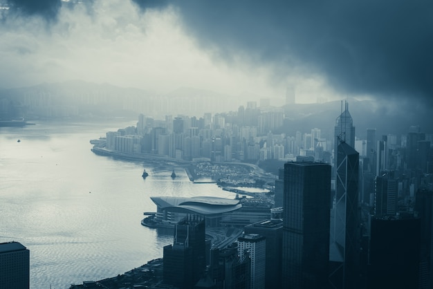 Hong kong cityscape in morning, city and building concept Premium Photo