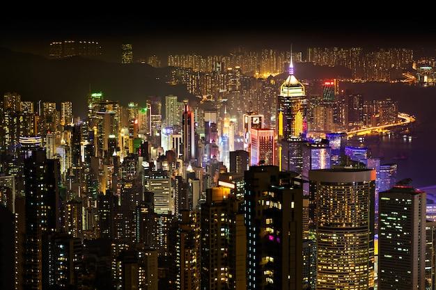 Hong kong at night Premium Photo