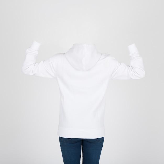 Вид сзади белый hoody Бесплатные Фотографии
