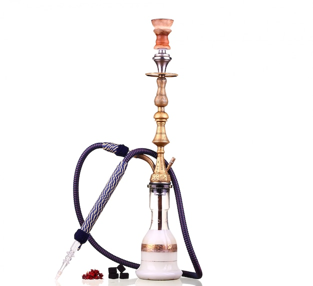Hookah isolated on white. water pipe, hookah tobacco, coal, charcoal Premium Photo