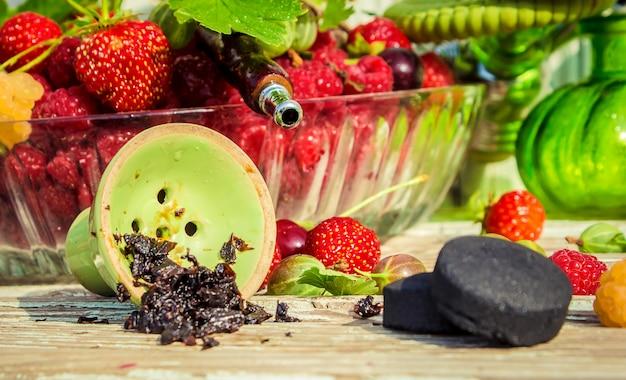 Hookah, tobacco flavor of the berries  selective focus