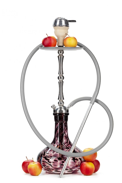 Hookah with fruits isolated on white background Premium Photo