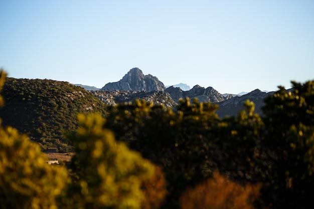 Горизонтальный вид. прекрасный вид на горы острова корсика, франция. горизонтальный вид. Premium Фотографии