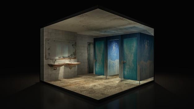 Ужас и жуткий туалет в больнице. Premium Фотографии