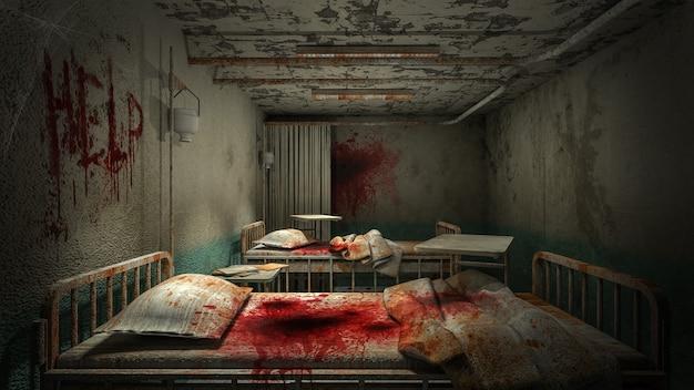 Ужас и жуткая палата в больнице с кровью. Premium Фотографии