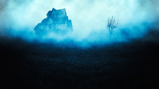 Horror halloween spooky  house in creepy night forest Premium Photo
