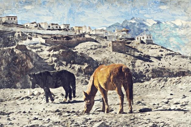 Horses in leh, india. digital art impasto oil painting by photographer Premium Photo