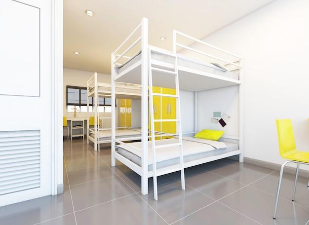 Hostel dormitory beds arranged in room Premium Photo