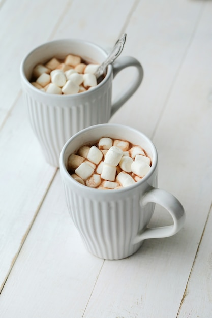 Hot cacao with marshmallow Free Photo