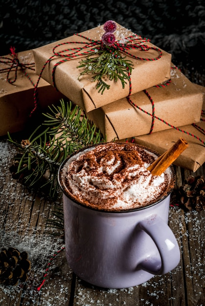 Hot Chocolate And Christmas Gifts Premium Photo