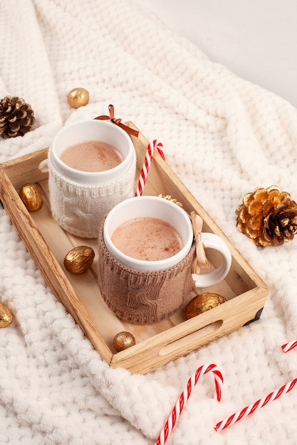 Hot chocolate. comfort warm drink for cold winter weather. christmas concept Premium Photo
