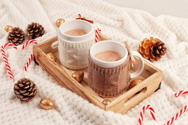 Hot chocolate. comfort warm drink for cold winter Premium Photo