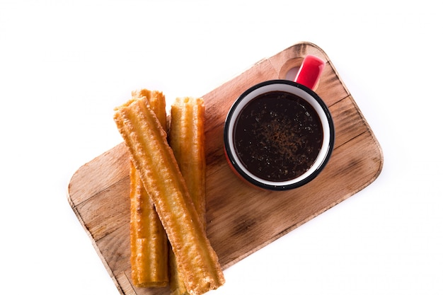Hot chocolate with churros Premium Photo