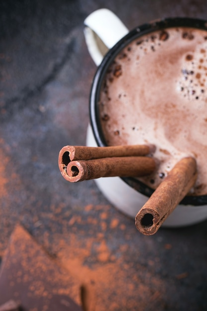 best keto sweet treats - Hot chocolate with cinnamon Premium Photo