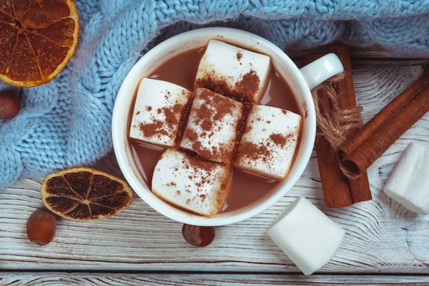 Hot chocolate with marshmallows on the table Premium Photo