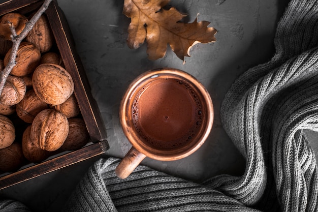 Hot chocolate with walnuts Free Photo