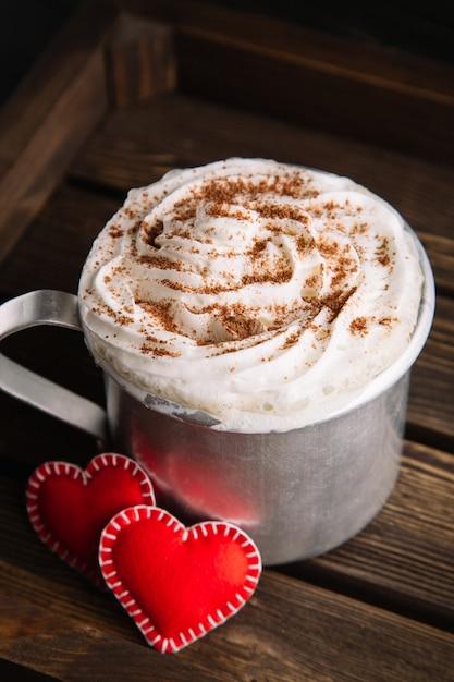 Hot chocolate with whipped cream Premium Photo