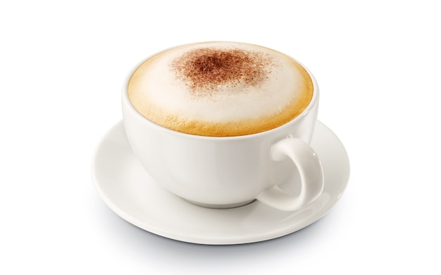 Hot coffee cappuccino with foam on white background Premium Photo