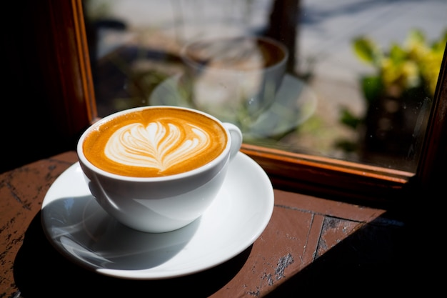 Hot coffee cup on table, relax time, morning time Premium Photo