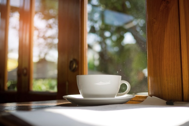 Hot coffee on wood table, relax time Premium Photo