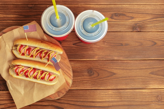 Hot dogs on wooden Premium Photo