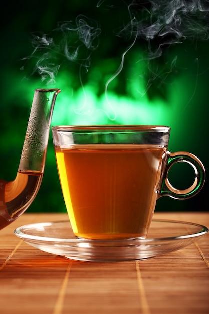 ガラスのティーポットとカップで熱い緑茶 無料写真