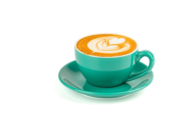 Hot latte coffee with latte art isolated on white background, clipping path inside. Premium Photo