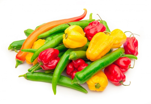 Hot peppers on white Premium Photo