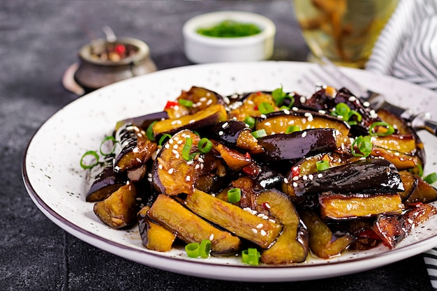 Hot spicy stew eggplant in korean style with green onion Free Photo
