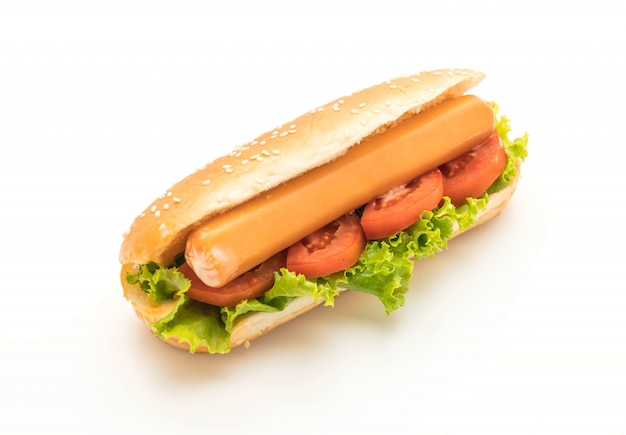 Hotdog with sausage and tomato Premium Photo
