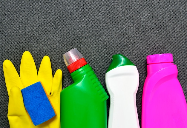 House cleaning product on gray Premium Photo