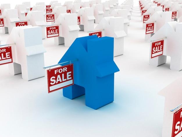 Дом цветной на продажу, 3d визуализация Premium Фотографии