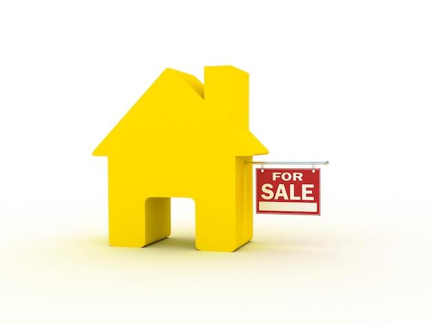 Продажа дома, 3d рендеринг Premium Фотографии