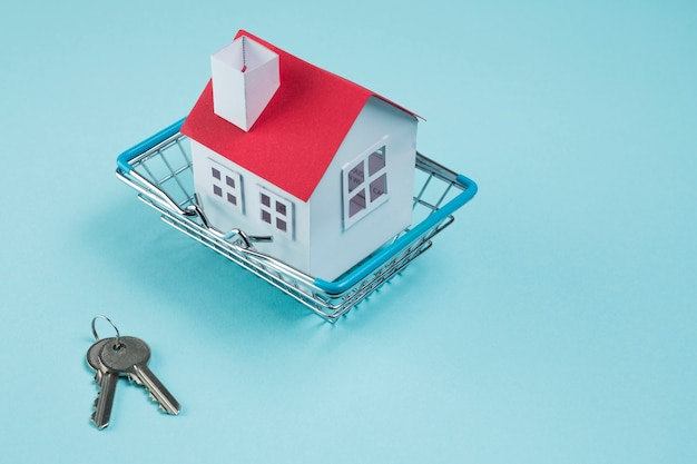 House model in metallic basket and keys on blue background Free Photo